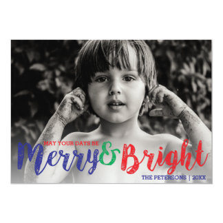 Whimsical Merry & Bright Christmas Holiday Photo Card