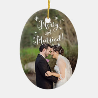 Whimsical Merry & Married First Christmas Photo Ceramic Ornament