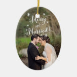 Whimsical Merry & Married First Christmas Photo Double-Sided Oval Ceramic Christmas Ornament