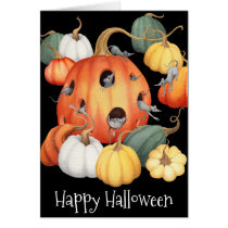 Whimsical Mice and Pumpkins Halloween Card
