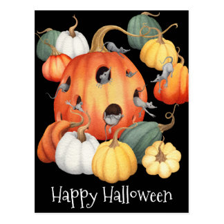 Whimsical Mice and Pumpkins Halloween Postcard