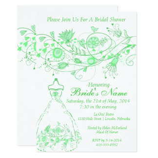 Whimsical Minty Green Bridal Shower Invite 1