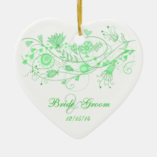 Whimsical Minty Green-Heart Ornament Wedding Favor