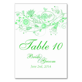 Whimsical Minty Green Table Card 1