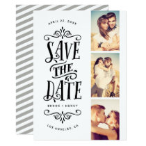 Whimsical Mod 3-Photo Save The Date | Black Card
