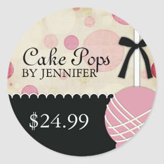 Whimsical Modern Bakery Price Tags Classic Round Sticker