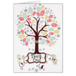 Whimsical Modern Swirl Heart Flower Tree Thank You Stationery Note Card