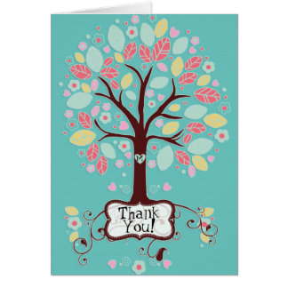 Whimsical Modern Swirl Heart Flower Tree Thank You Card
