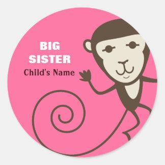 Whimsical Monkey Big Sister Classic Round Sticker