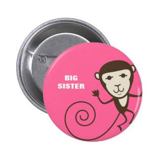 Whimsical Monkey Big Sister Pinback Button