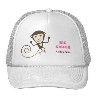 Whimsical Monkey Big Sister Trucker Hat