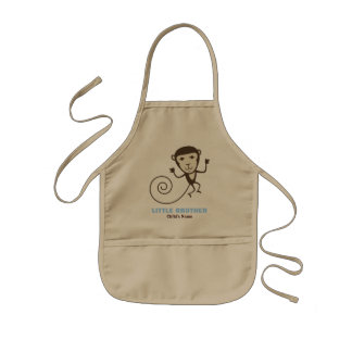 Whimsical Monkey Little Brother Kids' Apron