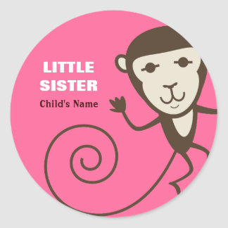 Whimsical Monkey Little Sister Classic Round Sticker
