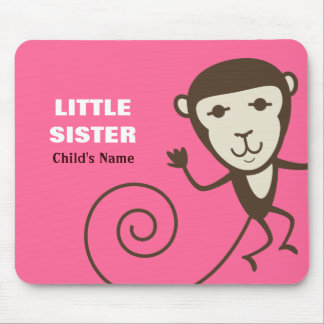 Whimsical Monkey Little Sister Mouse Pad