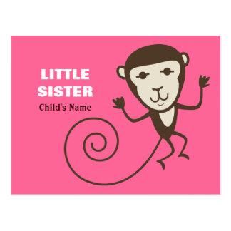 Whimsical Monkey Little Sister Postcard