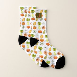 Whimsical Monogram Name and Pumpkins Watercolor Socks