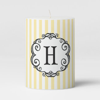 Whimsical Monogram Yellow Stripes Pillar Candle