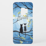 """Whimsical Moon with Cats Add Name Case-Mate Samsung Galaxy S9 Case<br><div class=""""desc"""">Two cats sitting on a branch watching the full moon with a blue sky filled with stars. The branches of the trees surrounding them with small yellow flowers. Black tuxedo cat and a bi-color white and grey spotted cat. Original Modern Whimsical Acrylic Painting by Donna Leger. All Rights Reserved. ©irony...</div>"""