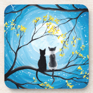 Whimsical Moon with Cats Beverage Coaster