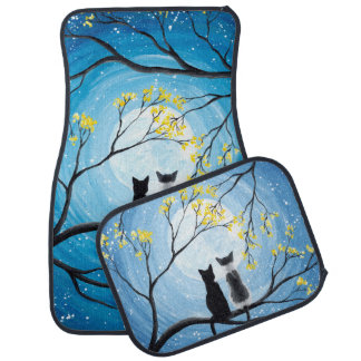 Whimsical Moon with Cats Car Floor Mat