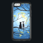 "Whimsical Moon with Cats OtterBox iPhone 6/6s Case<br><div class=""desc"">Two cats sitting on a branch watching the full moon with a blue sky filled with stars. The branches of the trees surrounding them with small yellow flowers. Black tuxedo cat and a bi-color white and grey spotted cat. Original Modern Whimsical Acrylic Painting by Donna Leger. All Rights Reserved. &#169;irony...</div>"