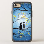 "Whimsical Moon with Cats OtterBox Symmetry iPhone 8/7 Case<br><div class=""desc"">Two cats sitting on a branch watching the full moon with a blue sky filled with stars. The branches of the trees surrounding them with small yellow flowers. Black tuxedo cat and a bi-color white and grey spotted cat. Original Modern Whimsical Acrylic Painting by Donna Leger. All Rights Reserved. &#169;irony...</div>"