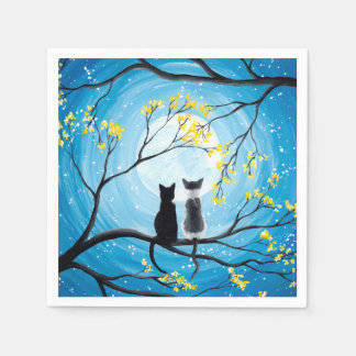 Whimsical Moon with Cats Paper Napkin