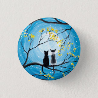 Whimsical Moon with Cats Pinback Button