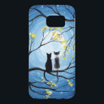 "Whimsical Moon with Cats Samsung Galaxy S7 Case<br><div class=""desc"">Two cats sitting on a branch watching the full moon with a blue sky filled with stars. The branches of the trees surrounding them with small yellow flowers. Black tuxedo cat and a bi-color white and grey spotted cat. Original Modern Whimsical Acrylic Painting by Donna Leger. All Rights Reserved. &#169;irony...</div>"