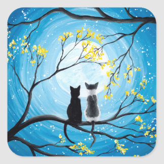 Whimsical Moon with Cats Square Sticker