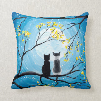 Whimsical Moon with Cats Throw Pillow