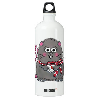 Whimsical Mouse I love you Valentine's Day Heart Aluminum Water Bottle