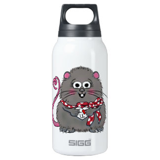 Whimsical Mouse I love you Valentine's Day Heart Insulated Water Bottle
