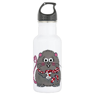Whimsical Mouse I love you Valentine's Day Heart Stainless Steel Water Bottle