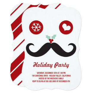 Whimsical Mr. Mustache Funny Holiday Party Invite at Zazzle