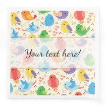 Whimsical Multicolor Birds Pattern Paper Dinner Napkin