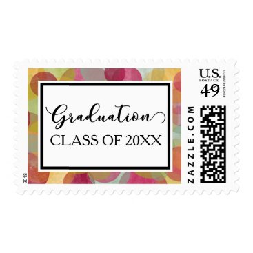 Beach Themed Whimsical, Multicolored Bubble-Circles Graduation Postage