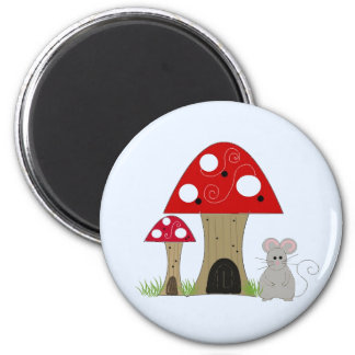 Whimsical Mushrooms and Mouse 2 Inch Round Magnet