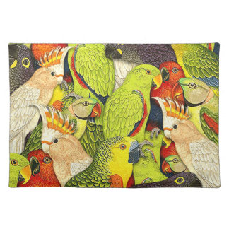 Whimsical Nature Green Parrots Birds Pattern Cloth Placemat