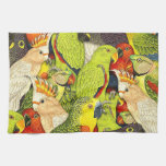 Whimsical Nature Green Parrots Birds Pattern Hand Towel
