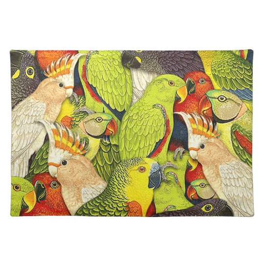 Whimsical Nature Green Parrots Birds Pattern Placemat
