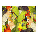 Whimsical Nature Green Parrots Birds Pattern Postcard at Zazzle