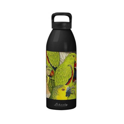 Whimsical Nature Green Parrots Birds Pattern Drinking Bottles