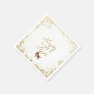 Whimsical naugty or  reindeer holiday paper napkin