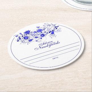 Whimsical Navy Blue Advice for Newlyweds Coaster Round Paper Coaster