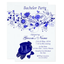 Whimsical Navy Blue Bachelor Party 1 Card