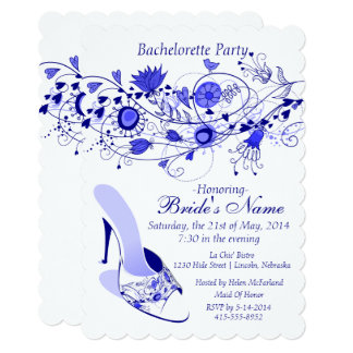Whimsical Navy Blue Bachelorette Party 1B Card