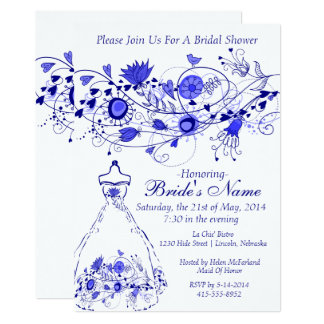 Whimsical Navy Blue Bridal Shower Invite 1
