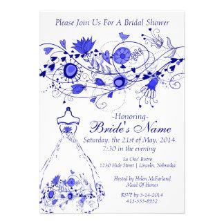 Whimsical Navy Blue Bridal Shower Invite 1