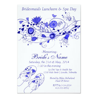 Whimsical Navy Blue Bridesmaid Lunch & Spa 1 5x7 Paper Invitation Card